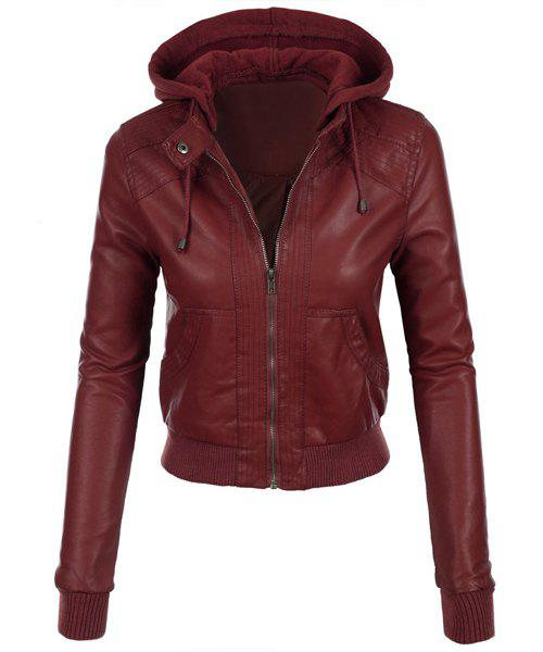 Stylish Long Sleeve Hooded Solid Color Faux Leather Spliced Women's Jacket - WINE RED L
