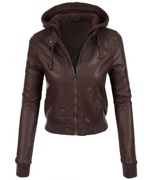 Stylish Long Sleeve Hooded Solid Color Faux Leather Spliced Women's Jacket - BROWN L