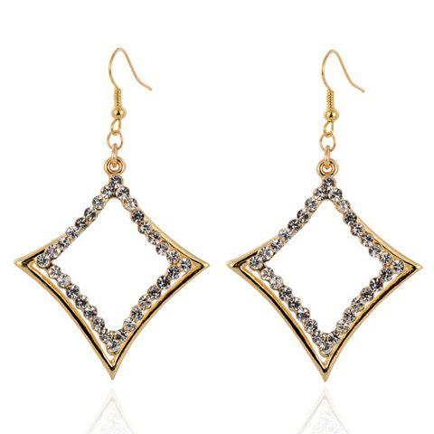 Pair of Trendy Rhinestone Hollow Out Rhombus Earrings For Women - GOLDEN