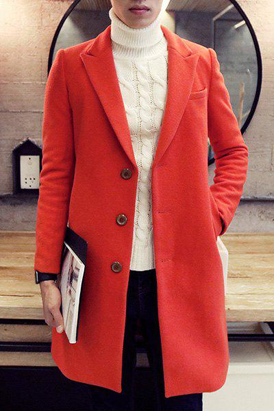 Single0 Breasted Turn-Down Collar Lengthen Long Sleeve Men's Woolen Jacket - RED L
