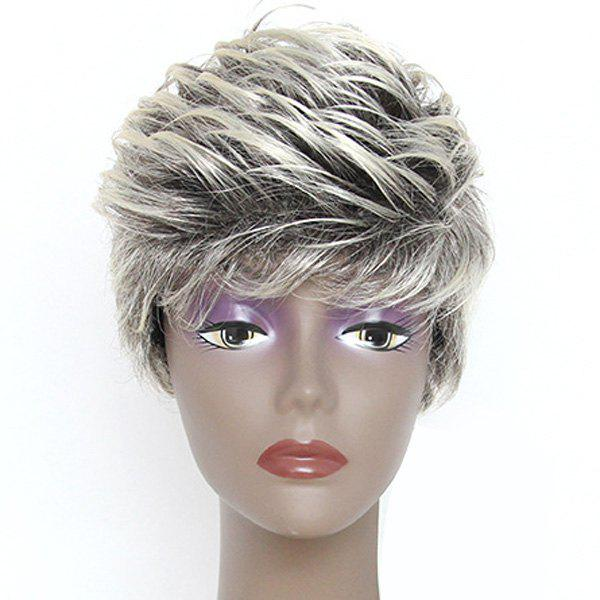 Fluffy Wavy Synthetic Outstanding Blonde Black Mixed Fashion Short Full Bang Women's Wig - COLORMIX