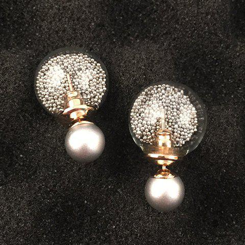 Pair of Chic Faux Pearl Round Bottle Earrings For Women