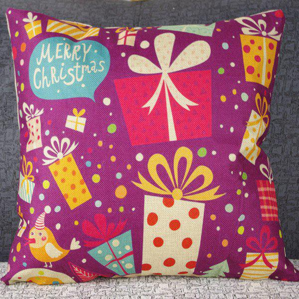 Classical Linen Gift Box Pattern Decorative Pillowcase (Without Pillow Inner) - COLORMIX