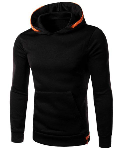 Color Block Zipper Embellished Front Pocket Slimming Hooded Long Sleeves Men's Hoodie - BLACK L