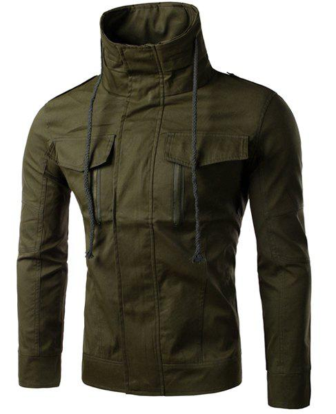 Multi-Zipper French Front Flap Pocket Epaulet Slimming Drawstring Stand Collar Long Sleeves Men's Jacket