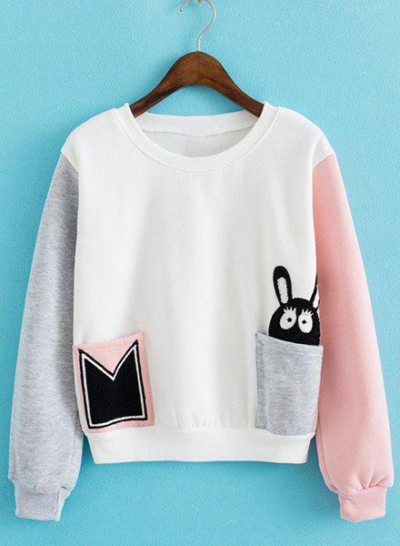Cute Cartoon Rabbit Pattern Round Neck Long Sleeve Pullover Sweatshirt For Women - WHITE ONE SIZE(FIT SIZE XS TO M)