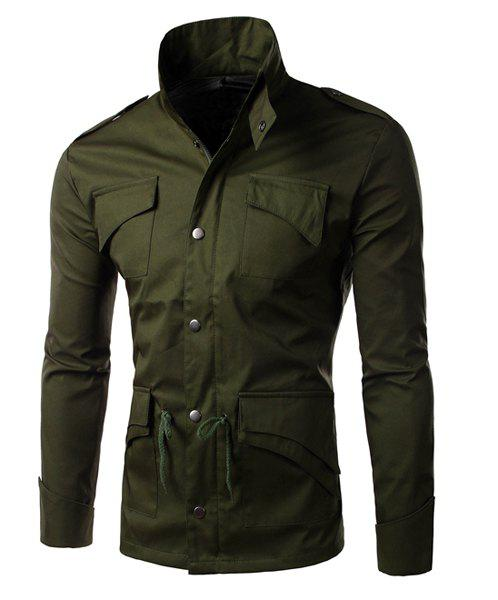 Drawstring Waist Personality Flap Pcoket Epaulet Design Slimming Stand Collar Long Sleeves Men's Jacket - ARMY GREEN XL