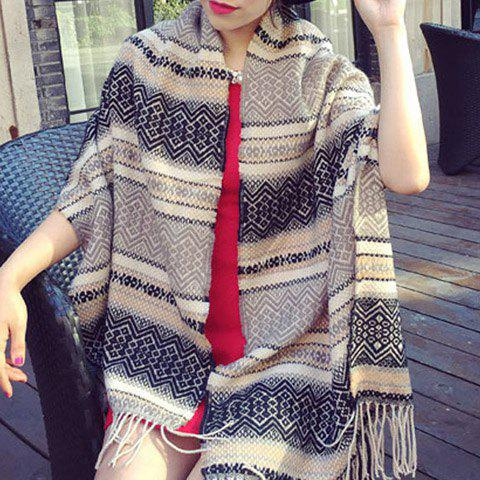 Chic Bohemian Rhombus and Wavy Stripe Pattern Tassel Women's Pashmina - RANDOM COLOR