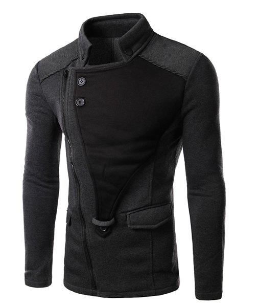 Personality Applique Inclined Zipper Fly Flap Pocket Stand Collar Long Sleeves Men's Slimming Jacket - GRAY M