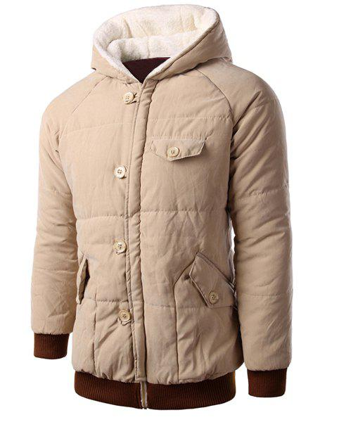 Personality Button Fly Flap Pocket Color Block Rib Spliced Hooded Long Sleeves Men's Loose Fit Coat - KHAKI XL