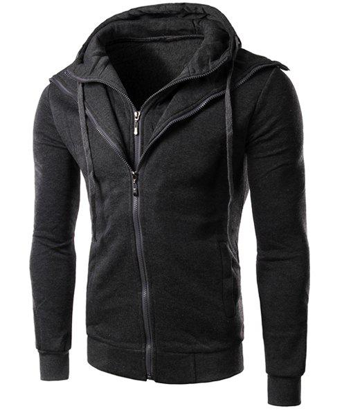 Faux Twinset Rib Spliced Double Zipper Fly Drawstring Hooded Slimming Men's Long Sleeves Hoodie