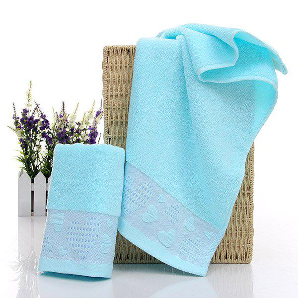 Simple New High Quality Soft Heart Pattern Hand Towel Face Towel - LAKE BLUE