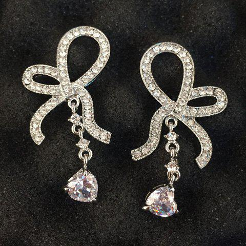 Pair of Chic Rhinestone Heart Bow Earrings For Women - SILVER