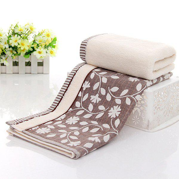 Simple New High Quality Comfortable Leaves Pattern Face Towel Hand Towel - COFFEE