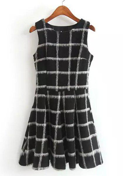 Stylish Scoop Neck Sleeveless Plaid Dress For Women - BLACK M