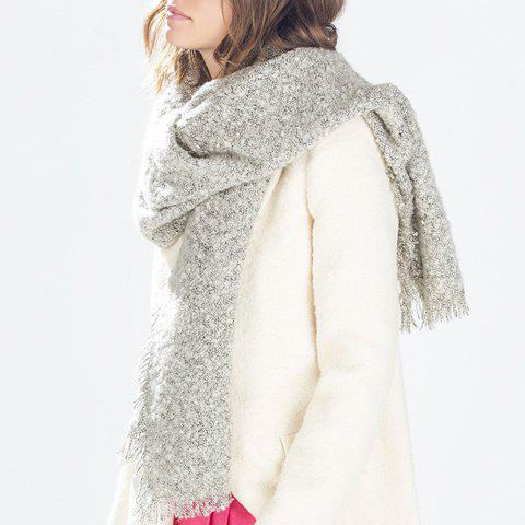 Chic Solid Color Fringed Loop Yarn Women's Winter Scarf - LIGHT GRAY
