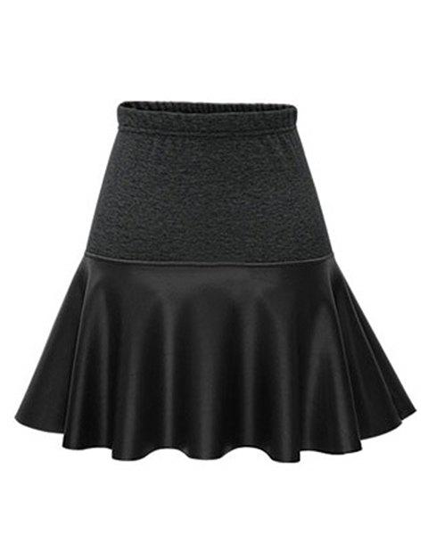 Trendy PU Leather Spliced Elastic Waist Skirt For Women - BLACK XL