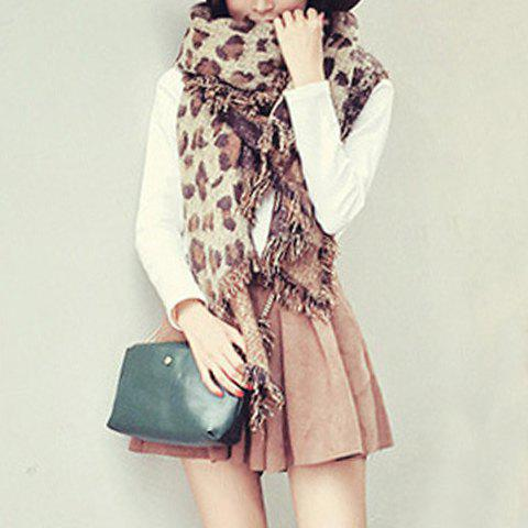 Chic Leopard Pattern Tassel Multifunctional Women's Winter Scarf - LIGHT COFFEE