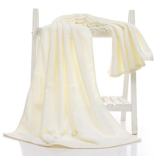 Simple New High Quality Soft Embroidery Towel Bath Gift 3 Colors - WHITE