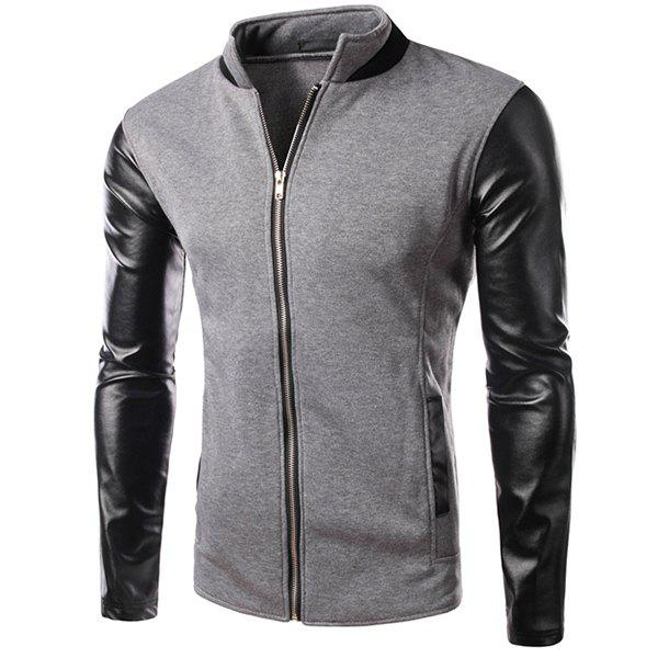 PU Leather Personality Spliced Hit Color Patch Pocket Stand Collar Long Sleeves Men's Slimming Sweatshirt - GRAY XL