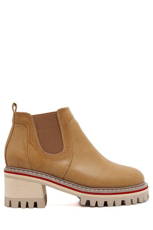British Style Elastic and Pure Color Design Women's Ankle Boots