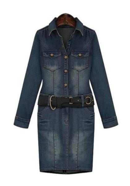 Simple Plus Size Turn-Down Collar Long Sleeve Denim Dress For Women - BLUE 2XL