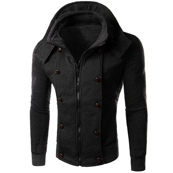 Multi-Button Embellished Rib Spliced Slimming Hooded Long Sleeves Men's Vogue Coat 153114004