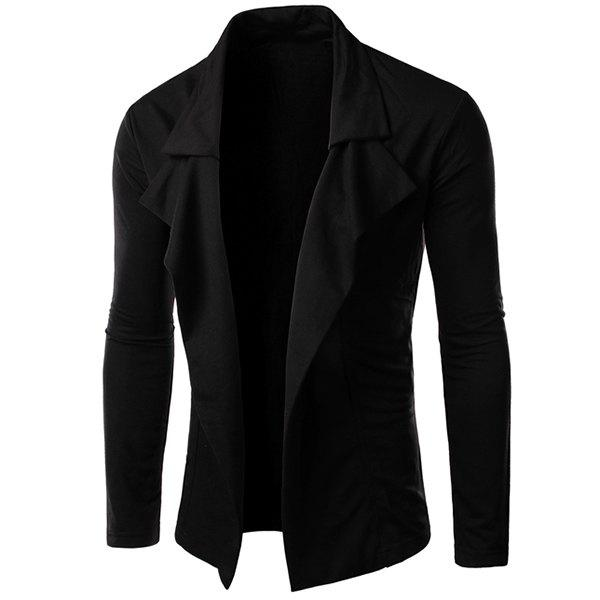 Personality Irregular Top Fly Solid Color Sutures Design Lapel Long Sleeves Men's Slimming Blazer - BLACK L