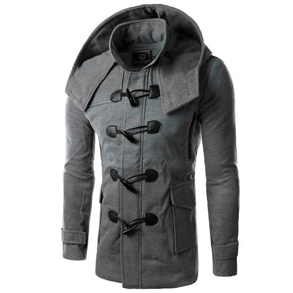 Stereo Large Patch Pocket PU Leather Horn Button Hooded Long Sleeves Men's Woolen Blend Coat