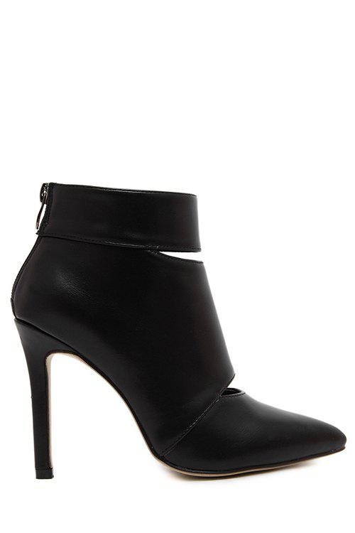 Sexy Hollow Out and Pointed Toe Design Women's Short Boots - BLACK 36