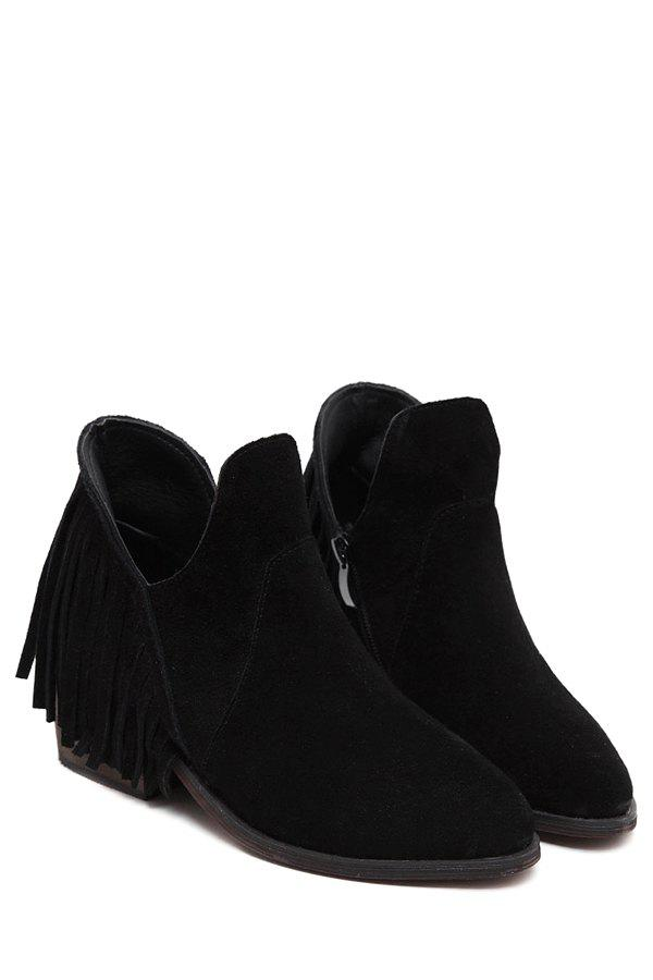 Stylish Fringe and Chunky Heel Design Women's Ankle Boots - BLACK 39