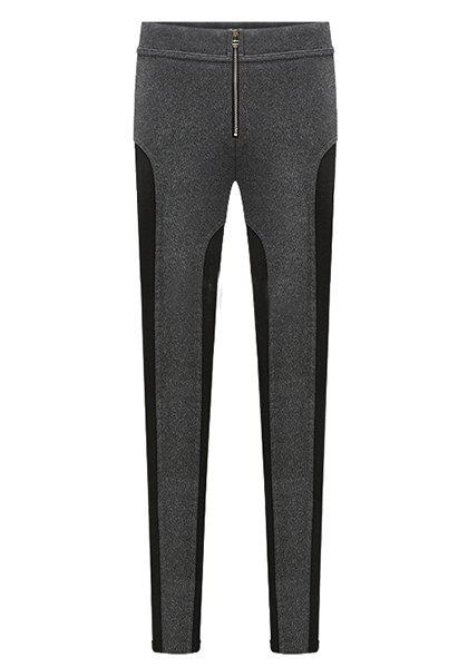 Simple Color Block Zippered Pants For Women - BLACK/GREY 4XL