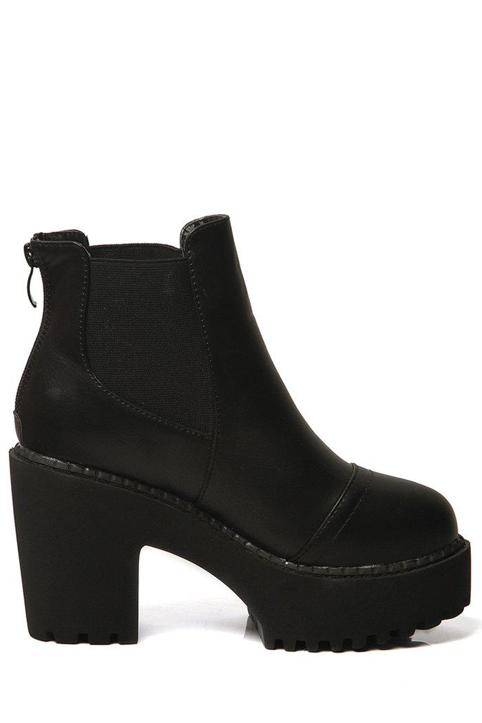 Simple Black and Zipper Design Women's High Heel Boots - BLACK 36