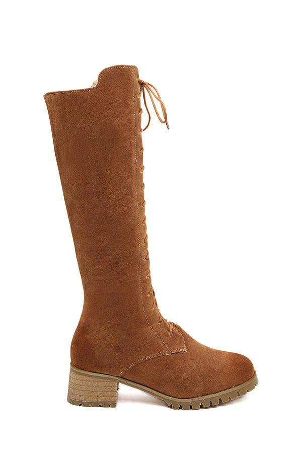 Trendy Chunky Heel and Suede Design Women's Mid-Calf Boots - BROWN 38
