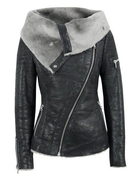 Stylish Long Sleeve Turn-Down Collar Zippered Women's Leather Black Jacket - BLACK L