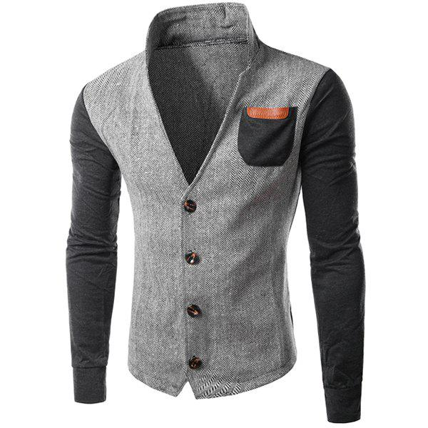 PU-Leather Spliced Patch Pocket Zig-Zag Pattern Hit Color Stand Collar Long Sleeves Men's Slimming Jacket - GRAY M