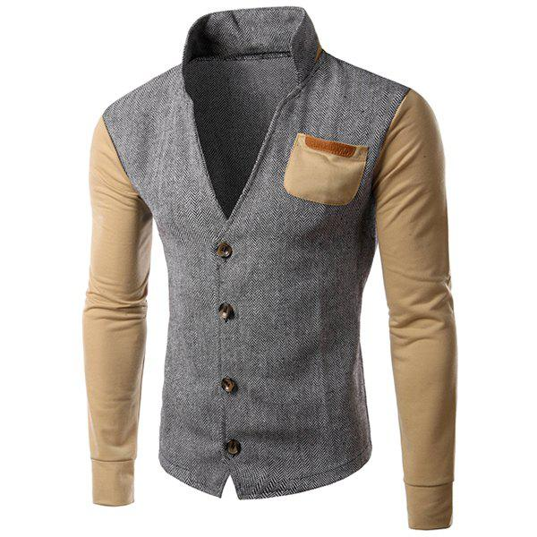 PU-Leather Spliced Patch Pocket Zig-Zag Pattern Hit Color Stand Collar Long Sleeves Men's Slimming Jacket 153165908