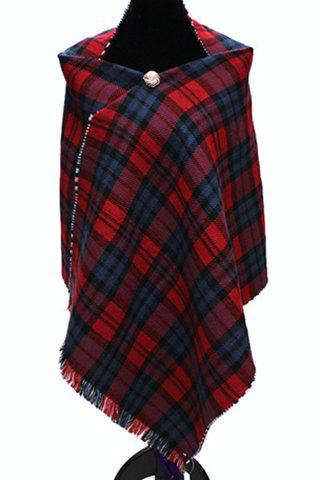 Chic Plaid and Houndstooth Pattern Tassel Reversible Women's Big Pashmina - RED