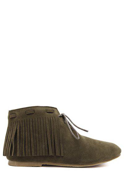 Retro Style Tassel and Lace-Up Design Women's Ankle Boots - ARMY GREEN 36