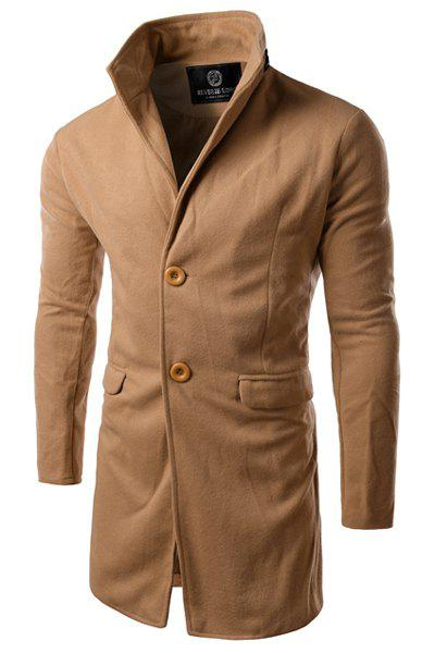 Slimming PU-Leather Spliced Stand Collar Flap Pocket Long Sleeves Men's Woolen Blend Trench Coat - CAMEL XL