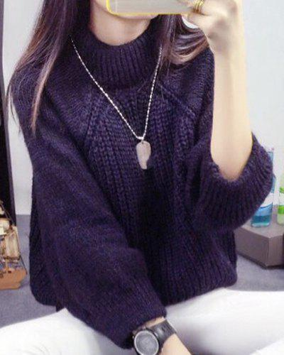 Women's Simple Loose Round Neck  Pullover Sweater - CADETBLUE ONE SIZE(FIT SIZE XS TO M)