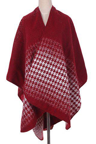 Chic Houndstooth Tie-Dyed Pattern Women's Winter Pashmina - RED