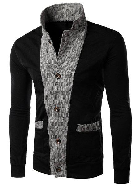 Color Block Zig-Zag Spliced Stereo Patch Pocket Slimming Stand Collar Long Sleeves Men's Jacket - BLACK 2XL