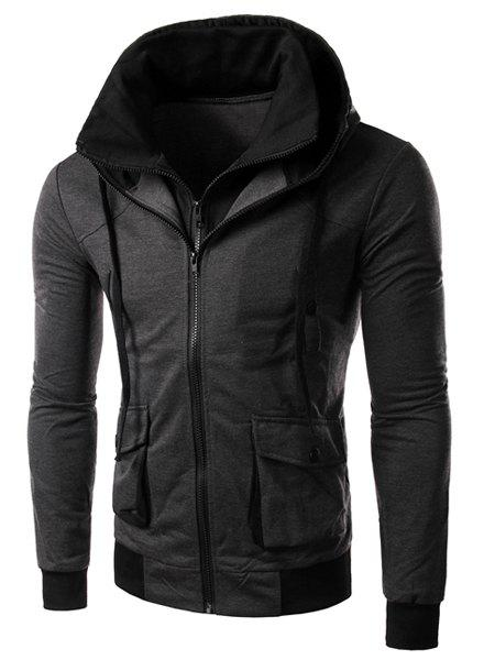 Hit Color Double Zipper Fly Stereo Flap Pocket Rib Spliced Hooded Long Sleeves Men's Faux Twinset Hoodie