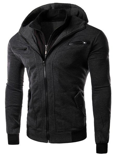 Multi-Zipper Patch Pocket Rib Spliced Hooded Long Sleeves Slimming Men's Thicken Faux Twinset Hoodie 153203703