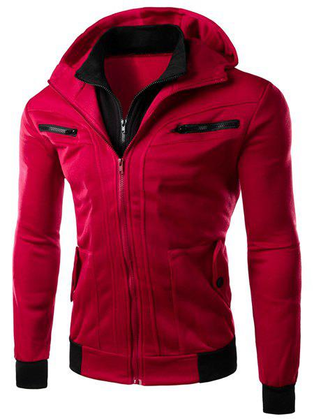 Multi-Zipper Patch Pocket Rib Spliced Hooded Long Sleeves Slimming Men's Thicken Faux Twinset Hoodie - WINE RED 2XL