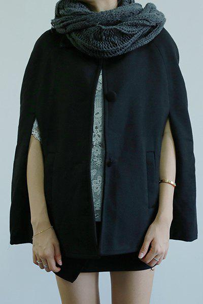 Chic Turn-Down Neck Loose-Fitting Pocket Design Women's Coat - BLACK XL