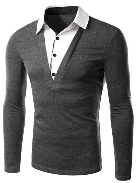 Classic Faux Twinset Color Block Slimming Shirt Collar Long Sleeves Men's Casual T-Shirt - GRAY M