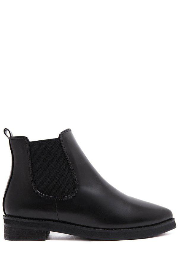 Simple Black and Elastic Design Women's Short Boots