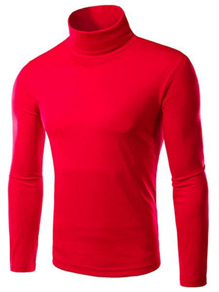 Laconic Slimming Candy Color Long Sleeves Men's Turtleneck Knitted T-Shirt - WINE RED M